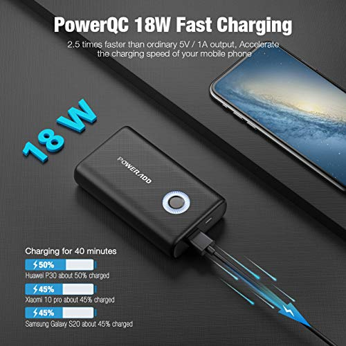 Poweradd Ultra-Compact 10000mAh Portable Charger, Small & Light Power Bank with Power QC18W, Fast Charge for iPhone, Airpods, Samsung Android Mobile Phone Nintendo Switch and Tablets