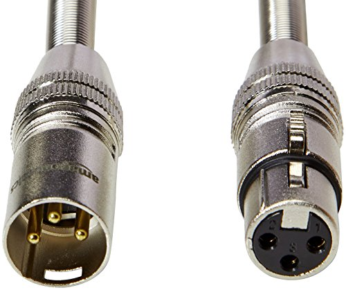 AmazonBasics 3 Pin Microphone Cable - Pack of 5, 6 Feet, Silver