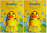Kitchen Scrub Brush Set of 2 Yellow Ducks – Pot Scrubber, Vegetable and Fruit Brush Scrubbers