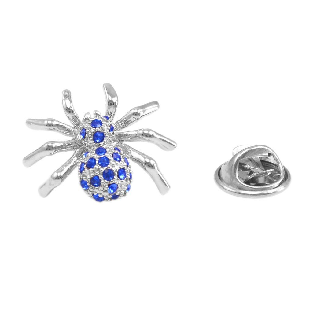 Blue Crystal Spider Collar Pin Unisex Spider Lapel Pin Corsage Pin for Formal Occasion MISSU JEWELLRY