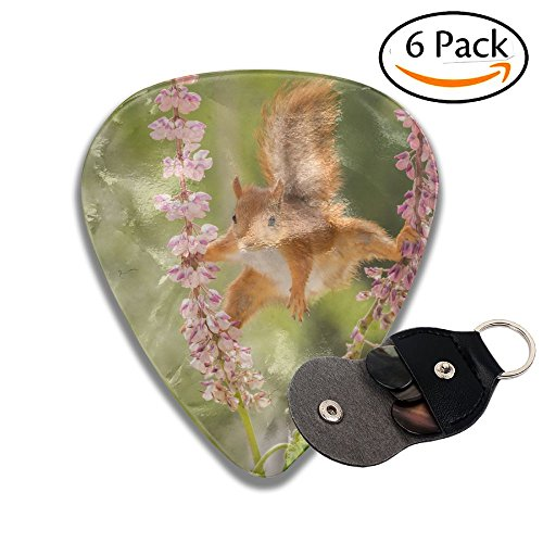 (Wxf Red Squirrel Standing Between Lupine Flowers With Spread Legs Stylish Celluloid Guitar Picks Plectrums For Guitar Bass .46mm 6 Pack)