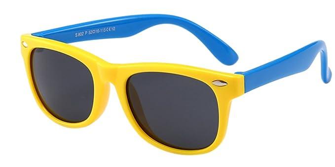 BOZEVON Gafas de Sol para Unisexo Niños Niñas Flexible Rubber Deportivas Polarizadas Wayfarer Gafas, Amarillo