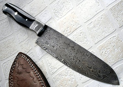 RK-219, Custom Handmade Damascus Steel Chef Knife – Solid G-10 Micarta Handle with Damascus Steel Bolsters
