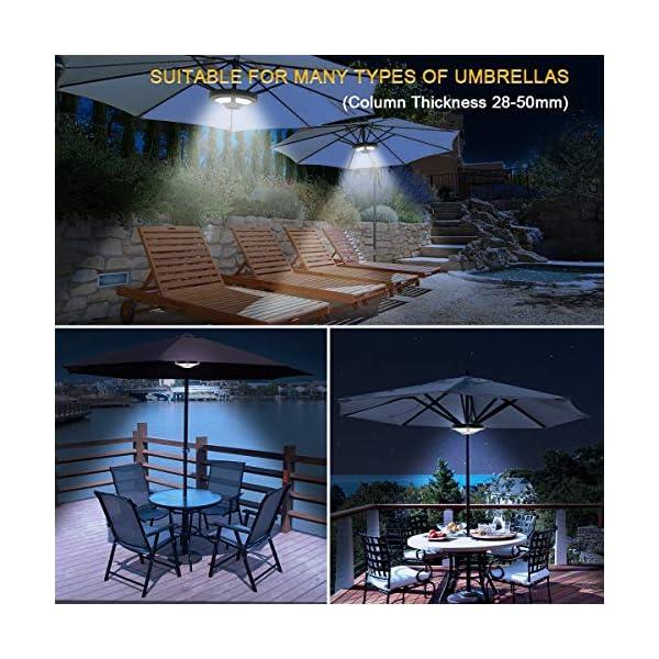 Lampada per Ombrellone, Jirvyuk Luci per Ombrellone con 36 LEDs, 2 Livello Dimmerabili per Giardino, Spiaggia, Campeggio… 7 spesavip