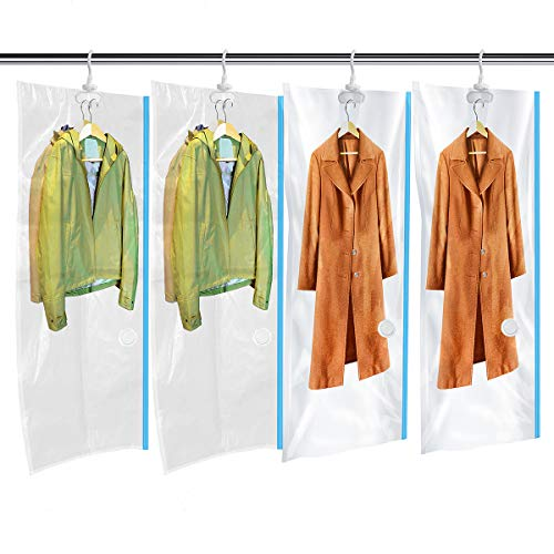 MRS BAG Hanging Vacuum Storage Bags 4 Jumbo(57x27.6'') Space Saver Bag Dress Cover with Hook for Coats, Jackets, Clothes & Closet Storage - Hand Pump ()