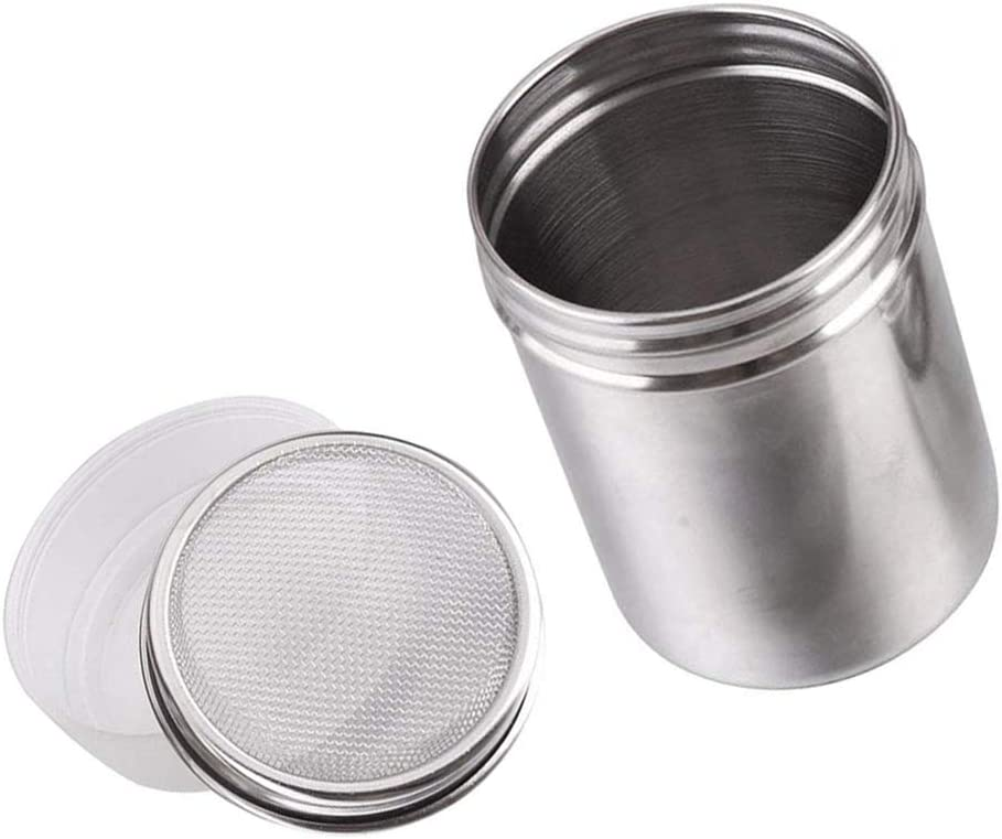 Chocolate Shaker Coffee Powder Cocoa Flour Icing Sugar Sifter Stainless Steel Mesh Shaker Powder Cans with Lid for For Baking Cooking Home Restaurant