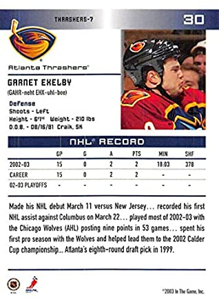 98b97c9ea7d2 Amazon.com  2003-04 In The Game Action Hockey  30 Garnet Exelby Atlanta  Thrashers  Collectibles   Fine Art