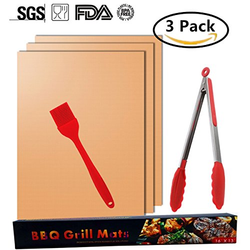 Grill Mat Set of 5 BBQ Tool Sets (Mats, Brush, Tongs) for Gas Charcoal Electric Grills- Easy to Clean, Reusable and Nonstick-As Seen on TV (5, Gold)