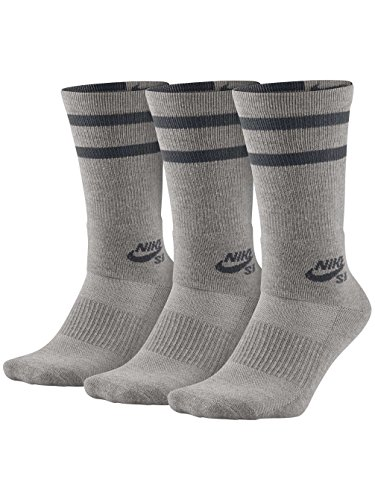 Nike Mens SB Dry Crew Skateboarding Socks (3-Pair) Dk Grey Heather/Dark Grey (Medium)