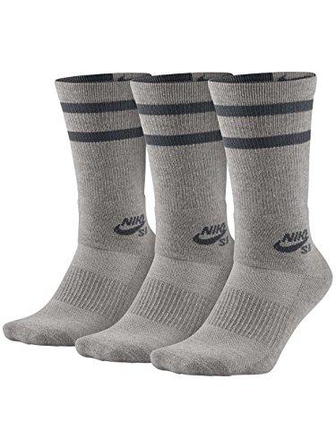 Nike Mens SB Dry Crew Skateboarding Socks (3-Pair) Dk Grey Heather/Dark Grey (Medium)