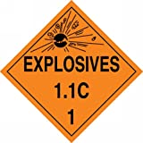 Accuform Signs MPL13VP50 Plastic Hazard Class 1/Division 1C DOT Placard, Legend ''EXPLOSIVES 1.1C 1'' with Graphic, 10-3/4'' Width x 10-3/4'' Length, Black on Orange (Pack of 50)