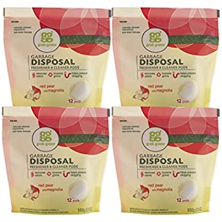Grab Green Natural Garbage Disposal Cleaner and Freshener, Red Pear with Magnolia, 12 Pods (Pack of 4)