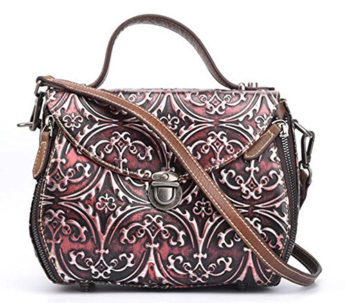 Rrock Bolsos Vintage Moda Hombro Diagonal Portátil En Relieve Lady Five Colors,Silver Red