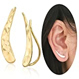 Ear Climber Crawler Cuff Earrings - 925 Sterling Silver Plated with 18K Yellow Gold