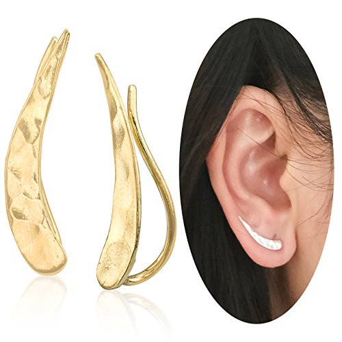 Ear Climber Crawler Cuff Earrings - 925 Sterling Silver Plated with 18K Yellow (Ear Pins Earrings)