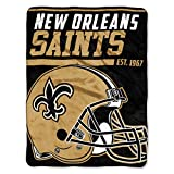 The Northwest Company 1 Pc, New Orleans Saints Blanket 46x60 Micro Raschel 40 Yard Dash Design Rolled, Acrylic & Polyester, Extra Warm & Superior Durability, Easy Care, Machine Washable & Dryable