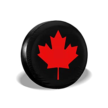 RV SUV and Many Vehicle 14 15 16 17 Flag of Canada Retro Spare Wheel Tire Cover Waterproof Dust-Proof Fit for Trailer