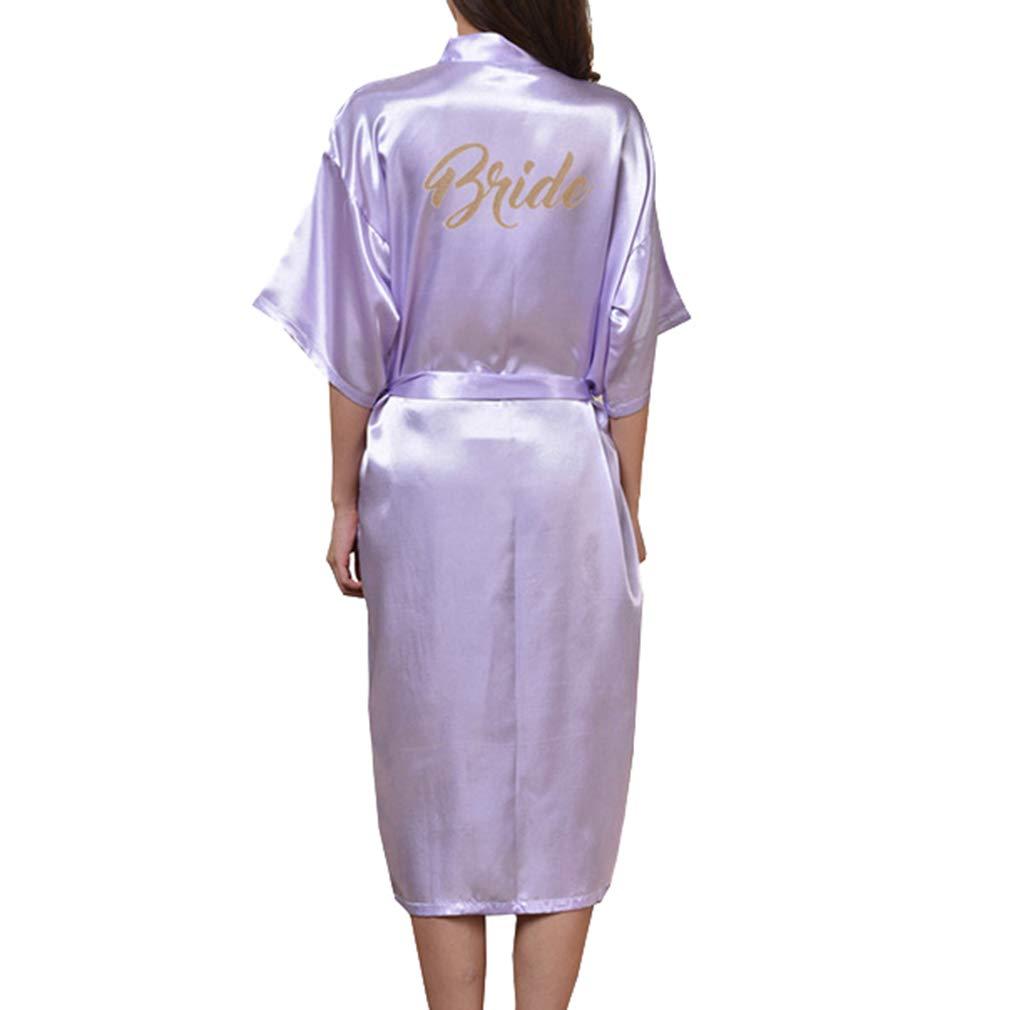 Kimono para Mujer, Batas de Casa con Escote de Seda Ropa de Dormir Albornoz Dama de Honor de la Novia Batas de Kimono con Bolsillo: Amazon.es: Ropa y ...