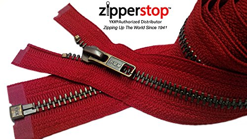 Zipperstop Wholesale YKK- Jacket Zippers YKK #5 Antique Brass- Metal Teeth Separating for Crafter's Special Color Hot Red #519 Made in USA - Custom Length (32 inches)