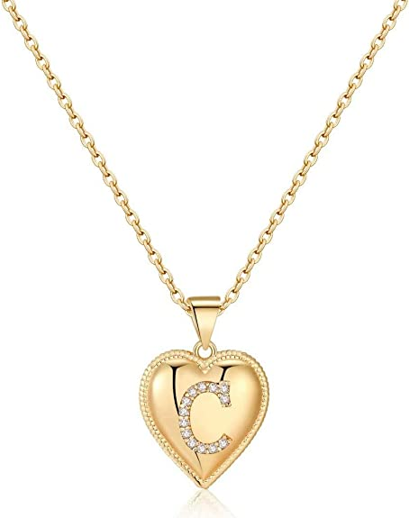 Gold Initial Heart Necklace for Women