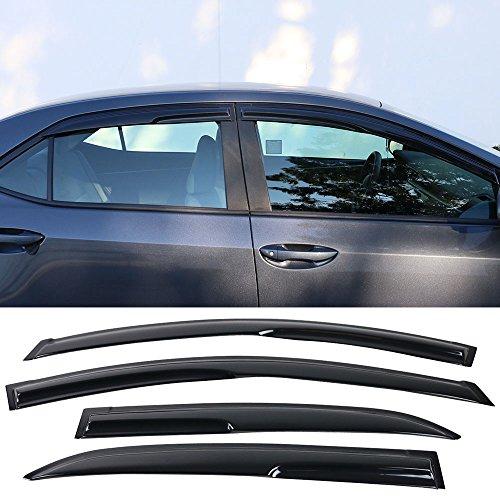 Window Visor fits 2014-2017 Toyota Corolla | Mu Style Acrylic Smoke Tinted & Semi-transparent Sun Rain Shade Guard Wind Vent Air Deflector by IKON MOTORSPORTS | 2015 2016