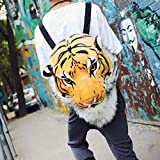 Funny Kids School Bag Simulation 3D Animal Head Zipper Double Shoulder Bag Backpack (Tiger)