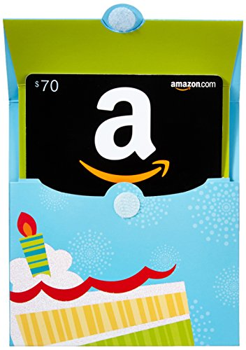 Amazon.com $70 Gift Card in a Birthday Reveal (Classic Black Card Design)