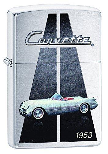 Zippo Lighter Chevy Corvette 1953 Brushed Chrome