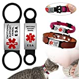 Dog Tag for Collar Necklace Stainless Steel Dog Cat Pet ID Tags Pendant ESA Emotional Support with Rubber Dog Accessories Black L