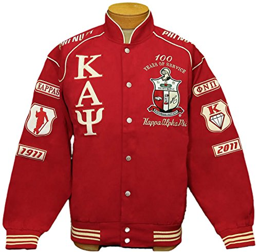 b46b3ed00864 Mens Kappa Alpha Psi - Phi Nu Pi Fraternity Racing Style Jacket - Red