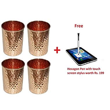 Crafts'man Set of 4 Copper Water Tumbler Ayurvedic Glasses