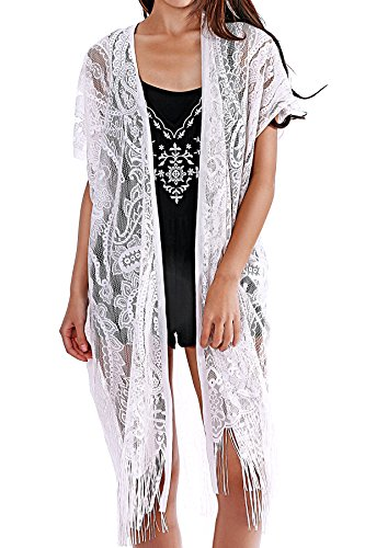 Womens Lace Cardigan Beach Wear Cover up Swimwear Bikini Lace Floral Long Tassel Crochet DressWhite One Size