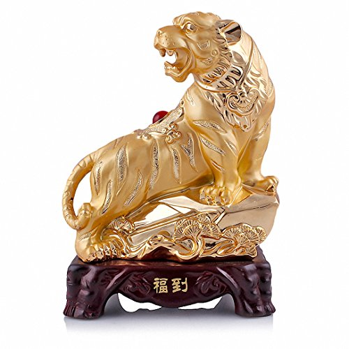 Large Size Chinese Zodiac Tiger Golden Resin Collectible Figurines Table Decor Statue - Zodiac Tiger