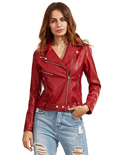 ROMWE Women's Vintage Leather Collar Long Sleeve Zipper Jackets Red L