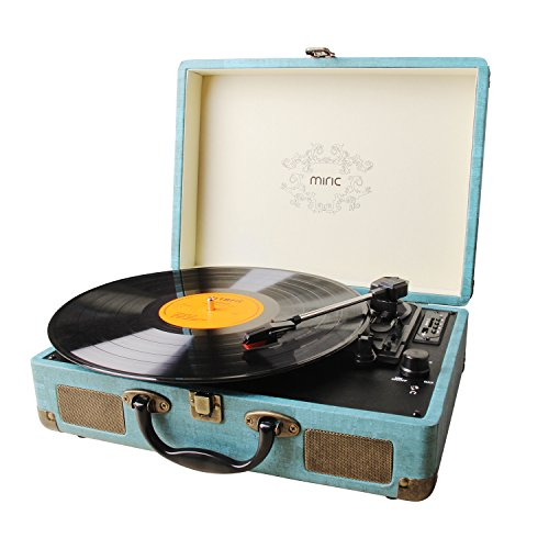 Miric Record Player Bluetooth, Turntable 3 speed with Two Dual Stereo Speakers, Belt Drive Turntable Headphone with USB Recording