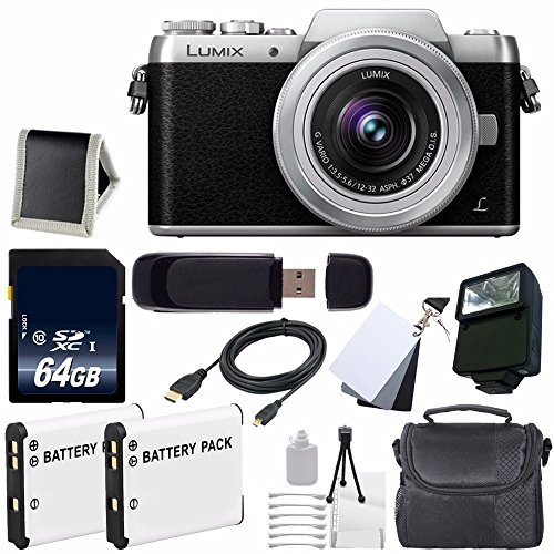 Panasonic Lumix DMC-GF7 Mirrorless Micro Four Thirds Digital Camera with 12-32mm f/3.5-5.6 ASPH. Lens (Black) + Replacement Lithium Ion Battery + 64GB SDXC Class 10 Memory Card + Carrying Case + External Flash + Micro HDMI Cable + SD Card USB Reader + Memory Card Wallet + 3 Piece Digital Grey Balance Cards Set + Deluxe Starter Kit Bundle - International Version (No Warranty)
