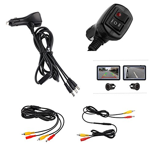 REARMASTER 12V Cigarette Lighter Power Supply Kit for Car monitor and two cameras with RCA connection,Switch button integrated for Front view and Rear view camera (Rear Split Tip)