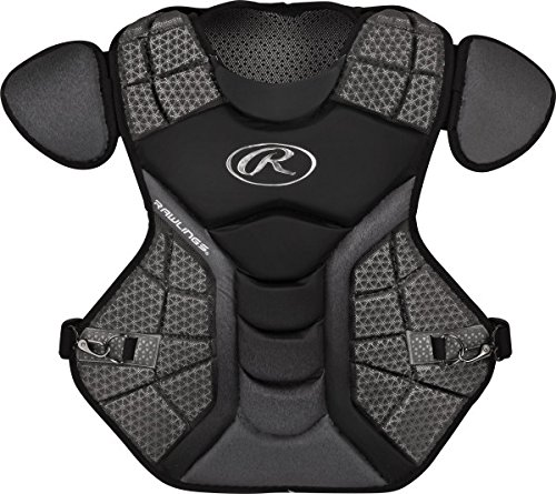 """Rawlings Sporting Goods Catchers Adult Velo Series Chest Protector, 17"""", Black/Graphite"""