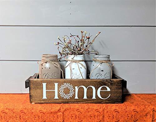 Mason Jars Centerpiece Farmhouse Style Home Rustic Wood Wedding Gift ()