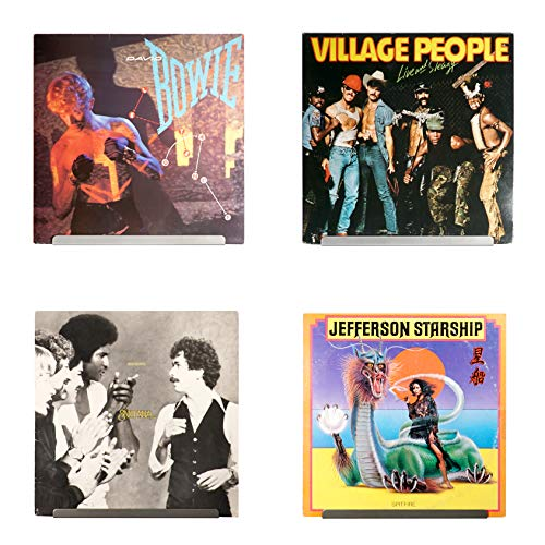 Hudson Hi-Fi LP Vinyl Record Wall Display | Four Pack | Display Your Daily Listening in Style | Grey
