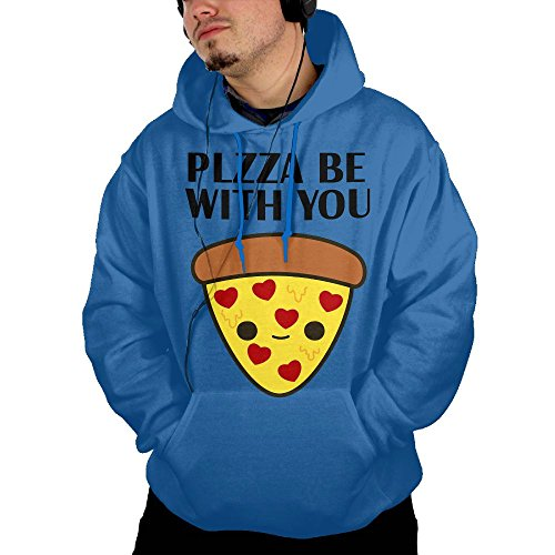 Obachi Pizza Be With You Men's Soft Long Sleeve Pullover Pocket Hooded Sweatshirt RoyalBlue Size L