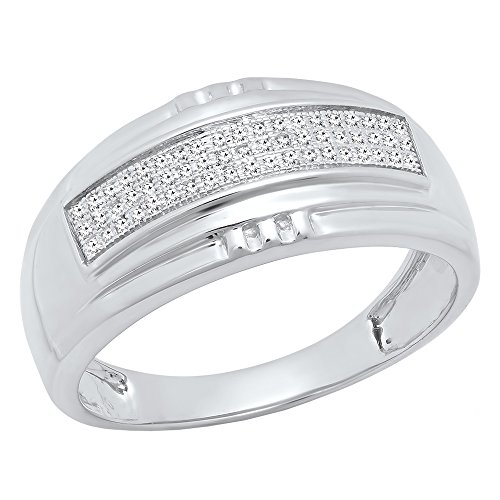 1/6 CT Sterling Silver Round White Diamond Men's Micro Pave Hip Hop Wedding Band (Size 9.5) by DazzlingRock Collection