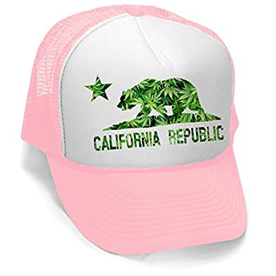 Men's Weed Leaf California Republic Flag Hat PLY B402 Pink/White Trucker Hat