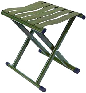 Portable Folding Stool, Army Green Stainless Steel Folding Stool, Suitable for Family, Outdoor, Farm, School, Camping, Picnic, Fishing, Garden, Party and Hiking.