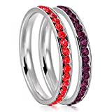 3mm Stainless Steel Eternity Ruby & Amethyst Color Crystal Stackable Wedding Band Rings (2 pieces) Set, Size 11
