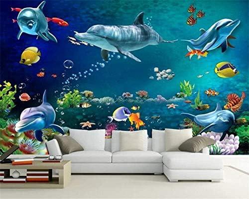 子供部屋の装飾壁紙3D水中世界イルカカスタム3D写真壁紙フレスコ壁画壁画-300x210cm