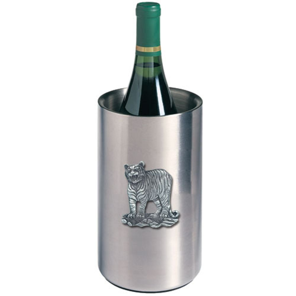 ANIMAL, TIGER WINE CHILLER, This is a wine chiller made of double-wall insulated stainless steel with a fine pewter logo medallion bonded to the front.