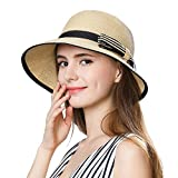 SiggiHat Summer Straw Sun Hat Women Beach Floppy Fedora Panama Hats SPF Travel Foldable Wide Brim Beige