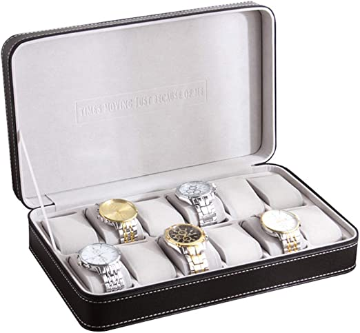 Cremallera De Cuero Reloj Caja De Almacenamiento 12 Ranuras Caja De Reloj PortáTil ColeccióN De ExhibicióN De Negocios Regalo Adecuado para Hombres/Mujeres -33 × 20 × 7.5cm: Amazon.es: Hogar