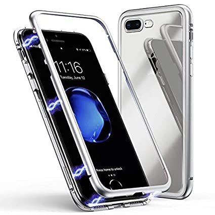 online store 6fc5d c14af Axxeum 360 Degree Magnetic Adsorption Metal Bumper Tempered Glass Clear  Shockproof Full Cover Case For iPhone 7 Plus & iPhone 8 Plus - Silver